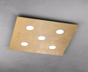 PLAFONIERA A SOFFITTO QUADRATA FOGLIA ORO TOP LIGHT PATH 5 LUCI VETRO