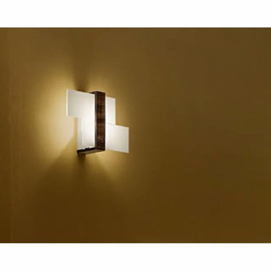 APPLIQUE TRIAD LAMPADA DA PARETE MODERNA DESIGN VETRI BIANCO LUCIDO LEGNO NOCE LINEA LIGHT