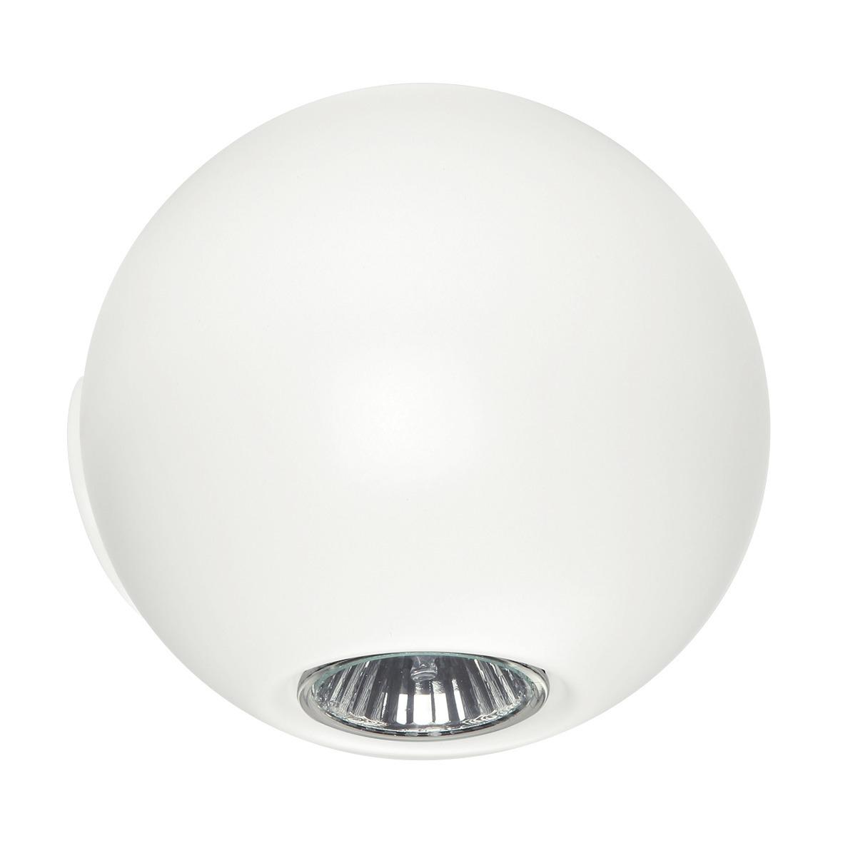 Faretti A Parete Design.Faretto Da Parete Design Sferico Bianco Opaco Gu10 Led Luce Up Down Pelota Linea Light
