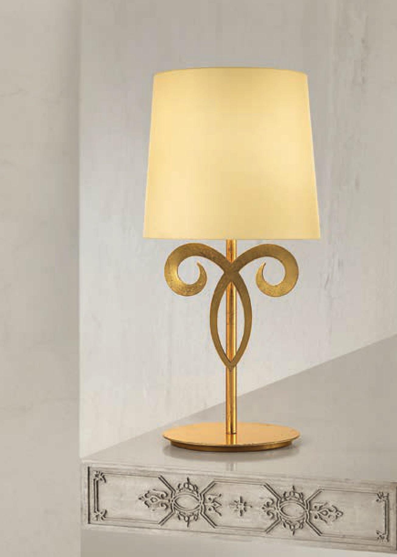 LAMPADA ABAT JOUR DA COMODINO CLASSICA LAM EXPORT FOGLIA ORO VETRO AMBRA