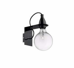APPLIQUE LED 8W 3000K NERO DESIGN MODERNA LAMPADINA TRASPARENTE