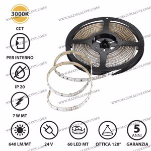 STRISCIA LED BOBINA 5 METRI 7W MT 3000K 24V IP20