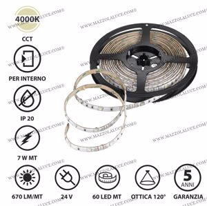 STRIP LED BOBINA 5 METRI 7W MT 4000K 24V IP20