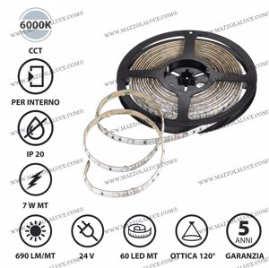 STRISCIA LED BOBINA 5MT 7W MT 6000K 24V IP20