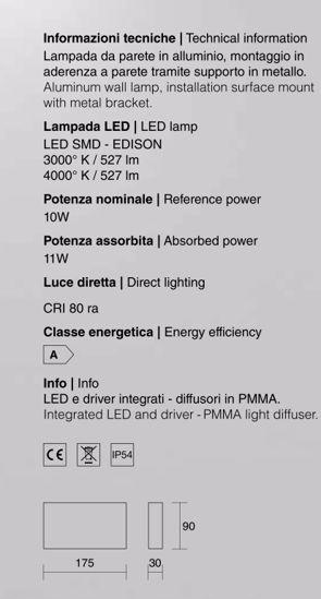 ISYLUCE APPLIQUE LAMPADA DA ESTERNO LED 10W 3000K IP54 ANTRACITE