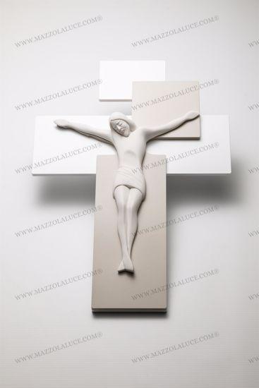 CROCIFISSO 30X42 MODERNO DA PARETE LEGNO NOCCIOLA CRISTO BIANCO