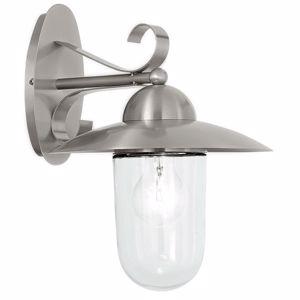 APPLIQUE LAMPADA DA PARETE PER ESTERNO GIARDINO ACCIAIO SATINATO IP44