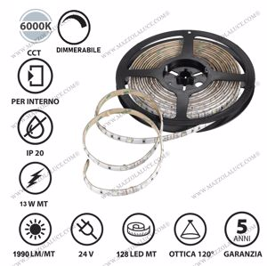 GEA LUCE BOBINA 5M STRIP LED 13W 6000K IP20 DA INTERNO DIMMERABILE ADESIVA FLESSIBILE
