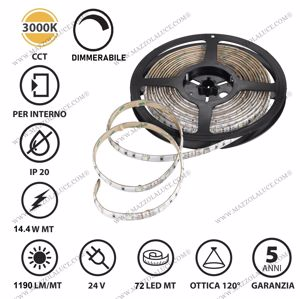 GEA LUCE BOBINA 5M STRIP LED 14.4W 3000K IP20 DA INTERNO DIMMERABILE ADESIVA FLESSIBILE