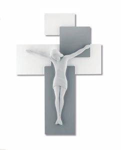 CROCIFISSO DA PARETE 19X27 MODERNO LEGNO GRIGIO CRISTO BIANCO
