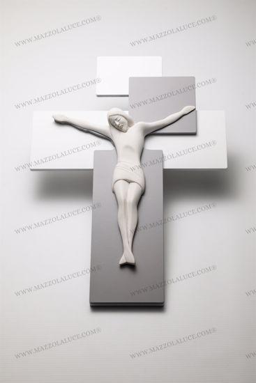 CROCIFISSO DA PARETE 42X30 LEGNO GRIGIO CRISTO BIANCO