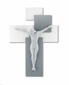 CROCIFISSO DA PARETE 60X40 MODERNO LEGNO GRIGIO CRISTO RESINA BIANCO