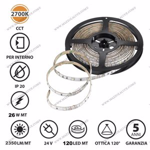 BOBINA ADESIVA 5MT STRIP LED 26W 2700K IP20 DA INTERNO FLESSIBILE 120 LED-M