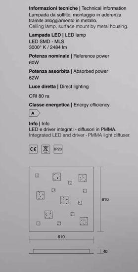 ISYLUCE PLAFONIERA LED SABBIA DA SALOTTO MODERNO 61CM 60W 3000K DESIGN QUADRATA