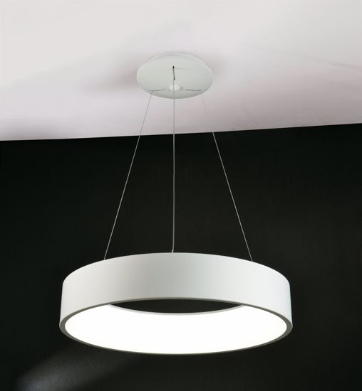 LAMPADARI MODERNI ANELLO LED 36W 3000K 60CM METALLO BIANCO