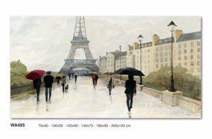 QUADRO ASTRATTO RAIN'S PARIS 100X50 TOUR EIFFEL STAMPA SU TELA