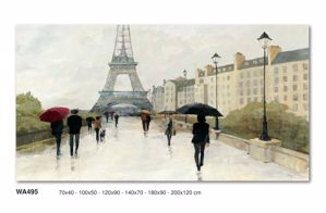 QUADRO ASTRATTO RAIN'S PARIS 140X70 TOUR EIFFEL STAMPA SU TELA