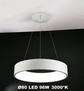 LAMPADARIO MODERNO 80CM LED 96W 3000K ANELLO METALLO BIANCO