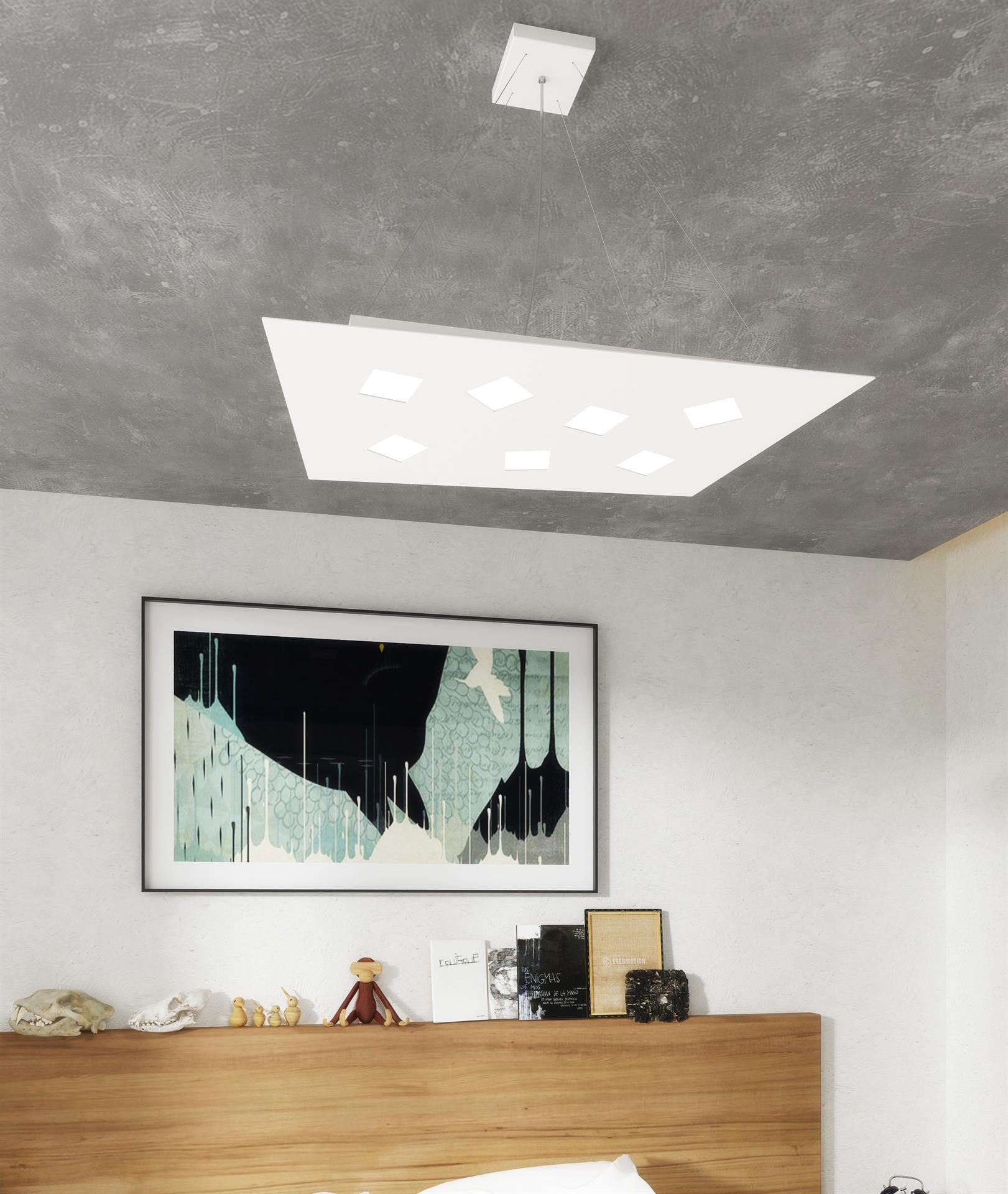 TOP LIGHT NOTE LAMPADARIO LED GRIGIO 4+2 LUCI LUCE UP&DOWN DA CUCINA