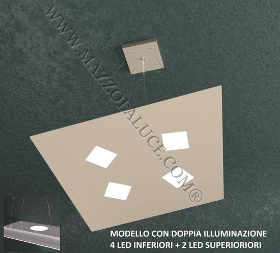 TOP LIGHT NOTE LAMPADARIO LED SABBIA 4+2 LUCI MODERNO DOPPIA ILLUMINAZIONE PER SALOTTO