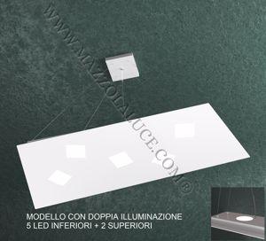 TOPLIGHT NOTE LAMPADARIO MODERNO LED BIANCO 5+2 LUCI DOPPIA ILLUMINAZIONE PER SOGGIORNO