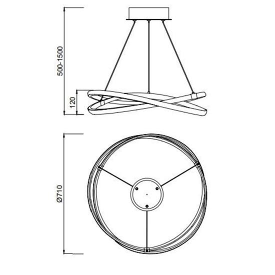 LAMPADARIO LED 60W 2800K DIMMERABILE 71CM SOGGIORNO MODERNO