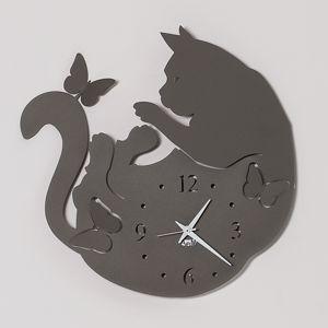 ARTI E MESTIERI CAT & BUTTERFLY OROLOGIO DA PARETE GATTO COLORE FANGO