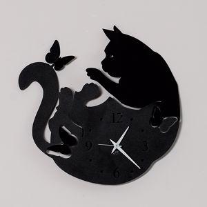 ARTI E MESTIERI CAT & BUTTERFLY OROLOGIO DA PARETE NERO GATTO