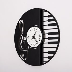 ARTI E MESTIERI DISCO RING OROLOGIO MODERNO DA MURO NERO BIANCO MUSICA DESIGN PARTICOLARE
