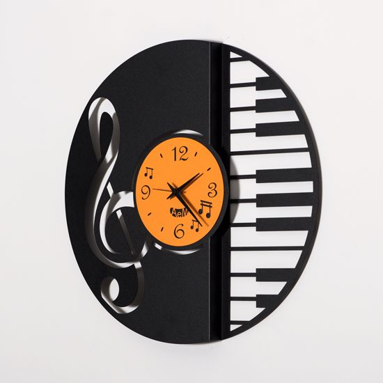 ARTI E MESTIERI DISCO RING OROLOGIO DA PARETE MODERNO NERO ARANCIONE MUSICA DESIGN