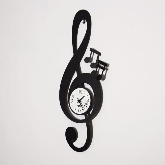 ARTI E MESTIERI CHIAVE MUSICALE OROLOGIO DA PARETE NERO DESIGN MODERNO