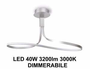 LAMPADARIO LED MODERNO LED 40W 3000K SILVER CROMO DIMMERABILE