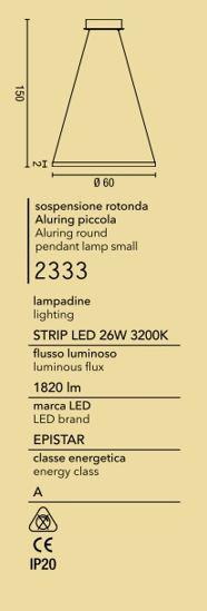 AFFRALUX ALURING LAMPADARIO MODERNO LED 26W ANELLO CERCHIO BIANCO