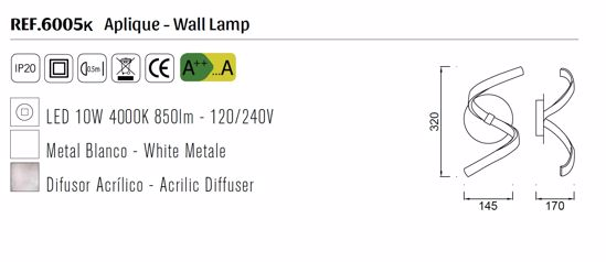 APPLIQUE PER CAMERA DA LETTO LED 10W 4000K DESIGN BIANCO