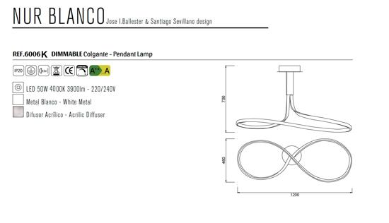 GRANDE LAMPADARIO BIANCO PER SOGGIORNO MODERNO LED 50W 4000K DIMMER