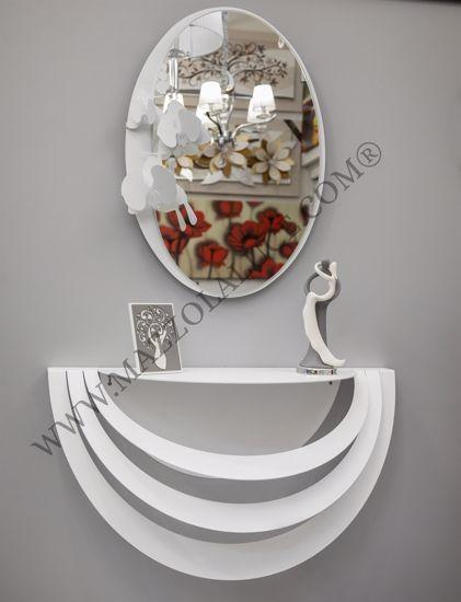 CONSOLLE DA INGRESSO OPTICAL BIANCA SPECCHIO ORCHIDEE DESIGN MODERNO ARTI E MESTIERI