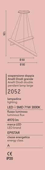AFFRALUX ANELLI DIODI SABBIA LAMPADARIO DOPPIO ANELLO LED 71W 3200K MODERNO