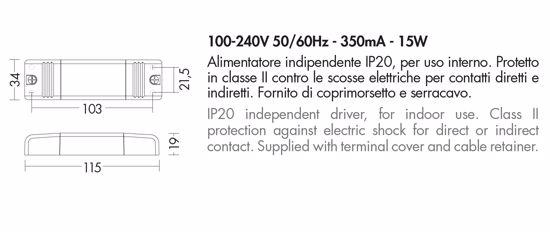 DRIVER TRASFORMATORE MAX 15W 100-240V 50/60HZ 350MA