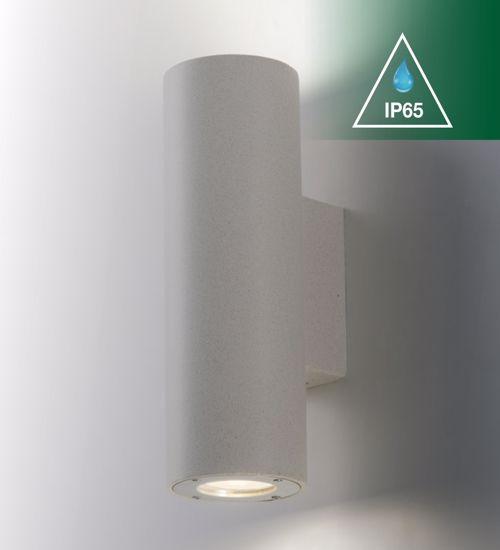 APPLIQUE LAMPADA A PARETE DA ESTERNO CEMENTO BIANCO IP65 BIEMISSIONE