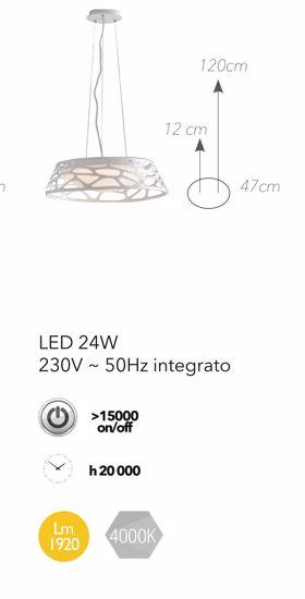LAMPADARIO DESIGN PER CUCINA MODERNA LED 4000K METALLO BIANCO