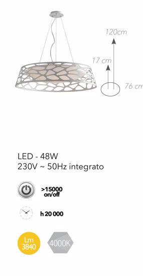 LAMPADARIO DESIGN MODERNO BIANCO PER SOGGIORNO LED 4000K