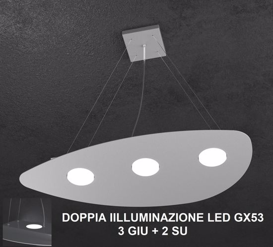 TOPLIGHT SHAPE LAMPADARI MODERNI GRIGIO 3-2 LED INTERCAMBIABILI