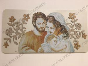 CAPEZZALE CONTEMPORANEO SACRA FAMIGLIA LEGNO STAMPATO 119X59