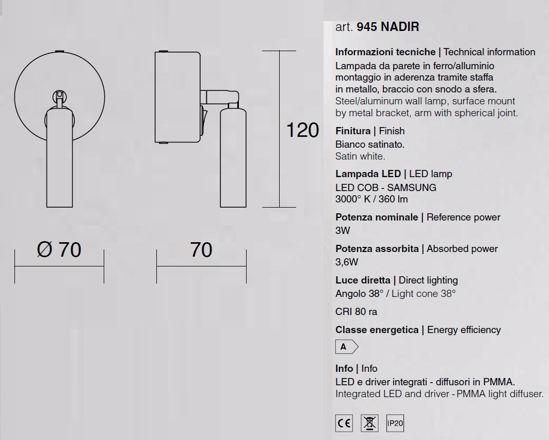 APPLIQUE CAMERA DA LETTO BIANCO ORIENTABILE LED 3W 3000K CON INTERRUTTORE