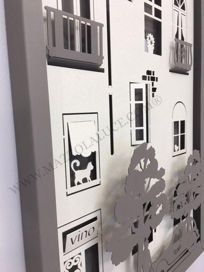 ARTI E MESTIERI QUADRO OROLOGIO PICCOLO BORGO 3D FANGO AVORIO