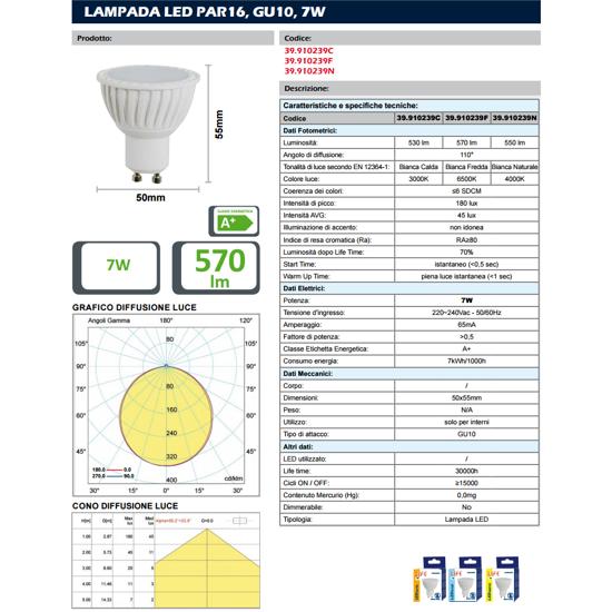 TOPLIGHT LAMPADINA LED GU10 7W 3000K 530LM BIANCA OTTICA 110 GRADI