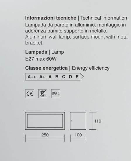ISYLUCE APPLIQUE DA ESTERNO E27 LED BIANCO IP54 RETTANGOLARE MODERNO