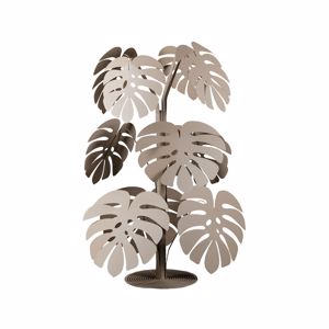 SCULTURA PIANTA DA TERRA IN METALLO BEIGE ARTI E MESTIERI MONSTERA