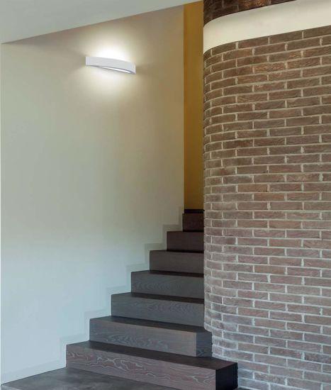 GRANDE LAMPADA IN GESSO DA PARETE MODERNA CURVA BIANCA