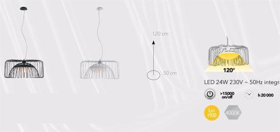 LAMPADARIO LED 24W 4000K PER CUCINA MODERNA DESIGN MINIMAL METALLO BIANCO